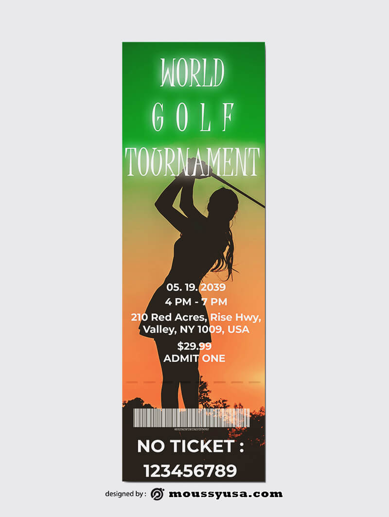 Golf Ticket Template Sample