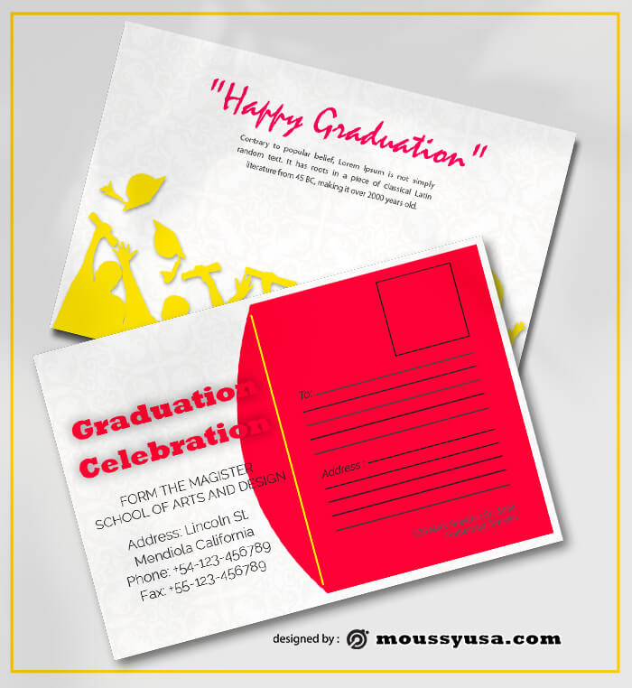 Graduation Postcard Template Design