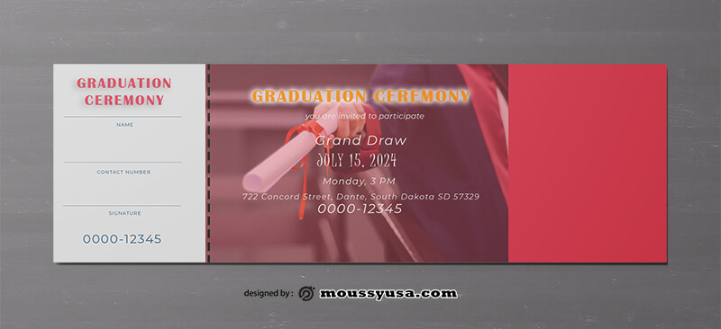 Graduation Ticket Template Design