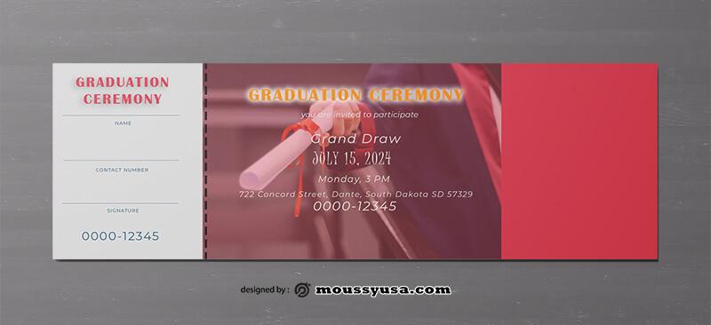 Graduation Ticket Template Design