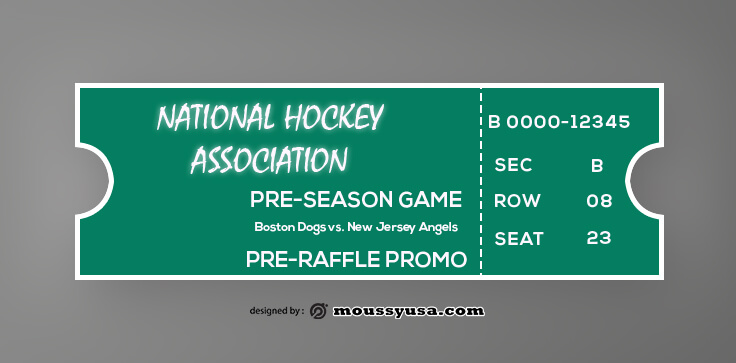 Hockey Ticket Design Template