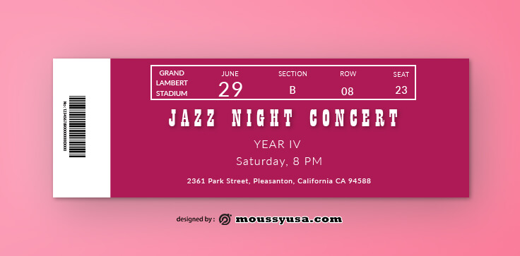 Jazz Concert Ticket Template Sample