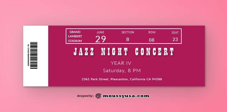 Jazz Concert Ticket Template Sample