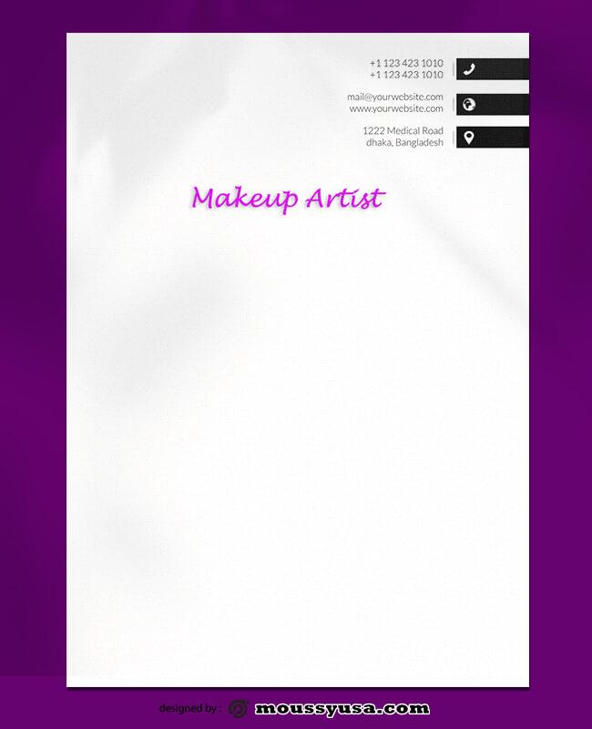 Makeup Artist Letterhead Design PSD