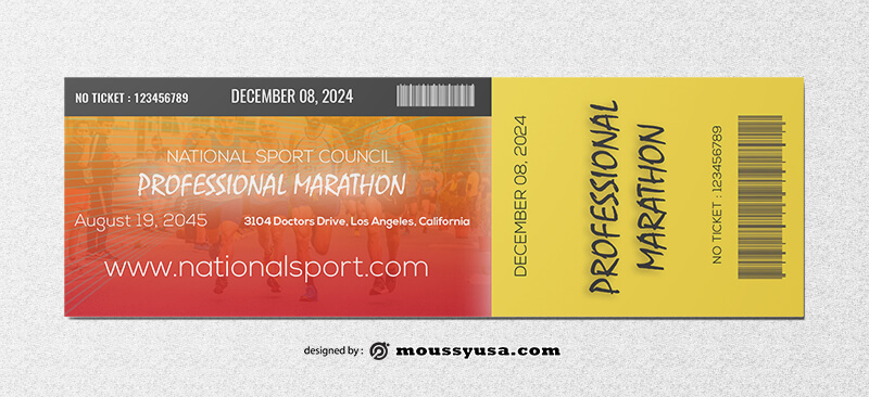 Marathon Ticket Template Design
