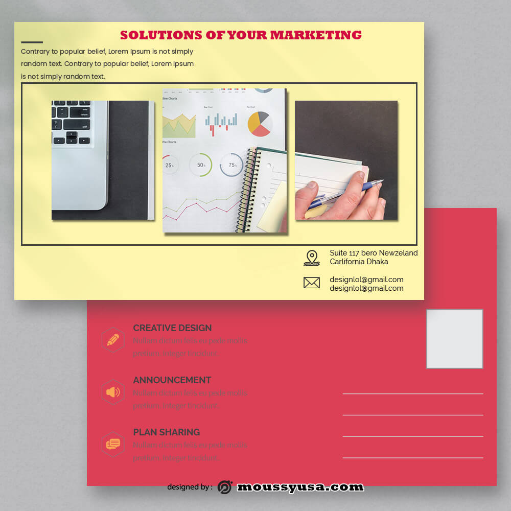 Marketing Postcard Template Design