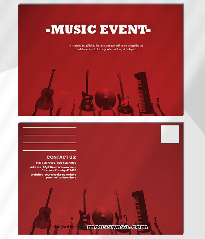 Music Event Postcard Template Sample
