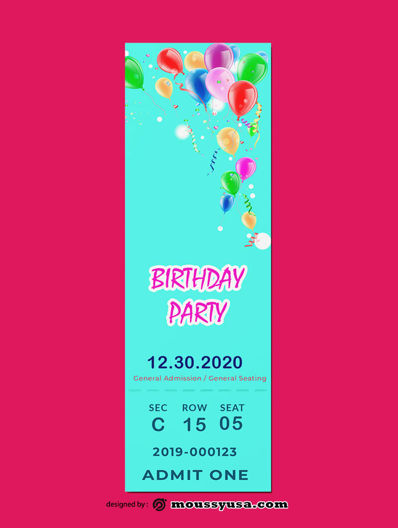PSD Birthday Ticket Template