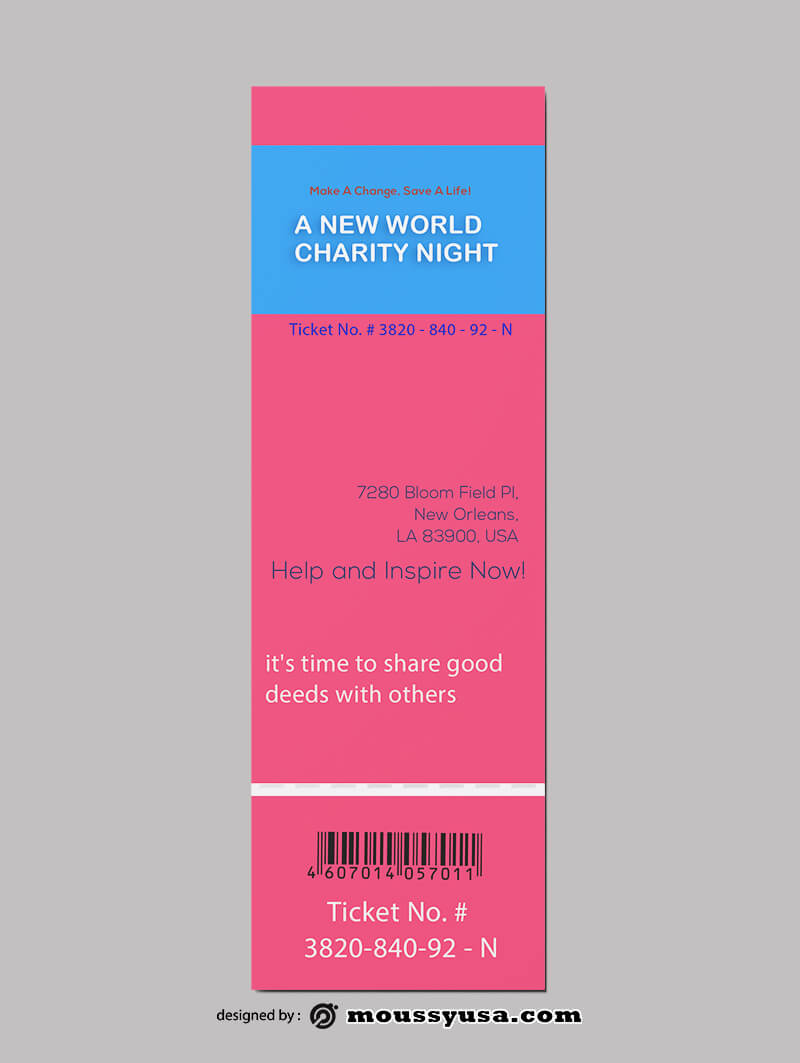 PSD Charity Ticket Template