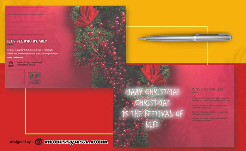 PSD Christmas Postcard Template