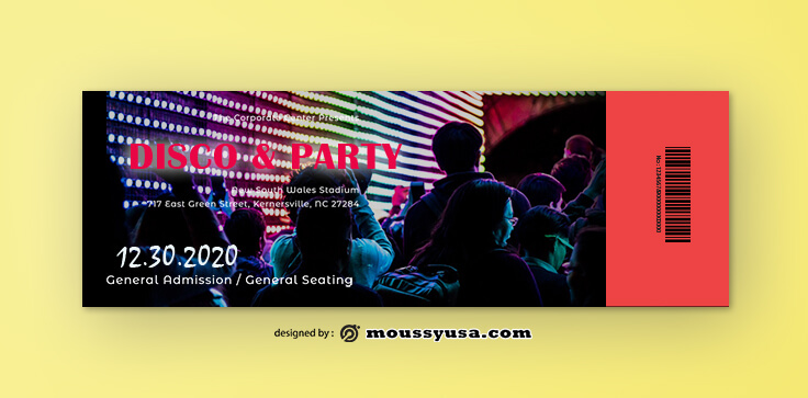 PSD Disco Party Ticket Template