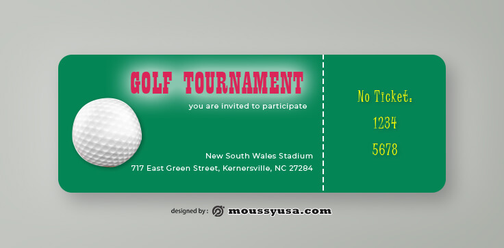 PSD Golf Ticket Template
