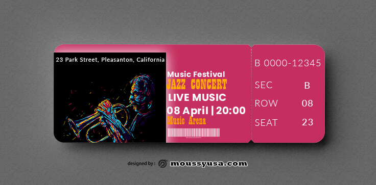 PSD Jazz Concert Ticket Template