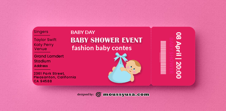 PSD Template For Baby Shower Ticket