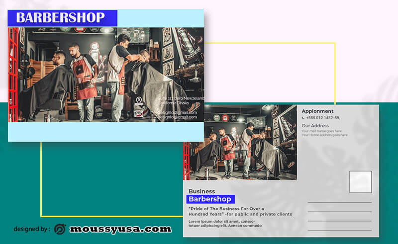 PSD Template For Barbershop Postcard