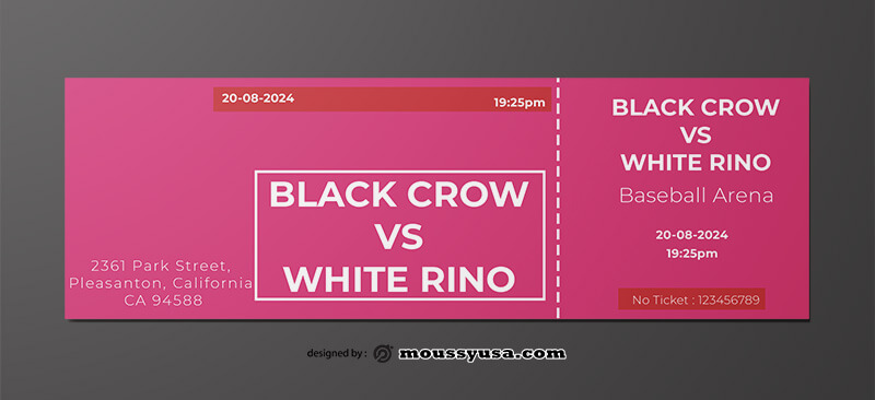 PSD Template For Baseball Ticket
