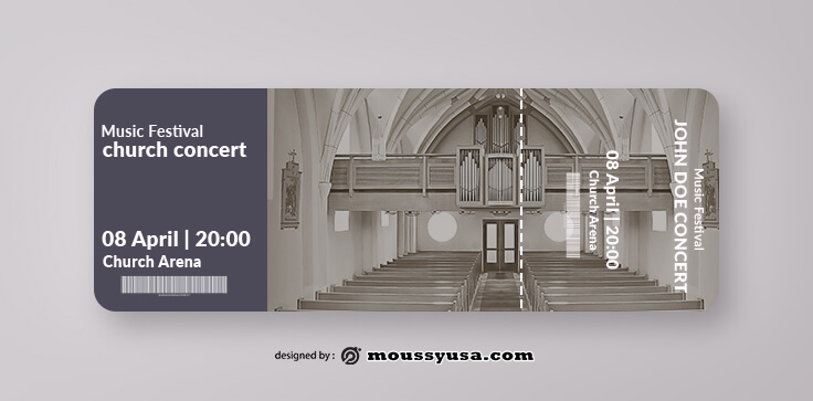 PSD Template For Church Concert Ticket