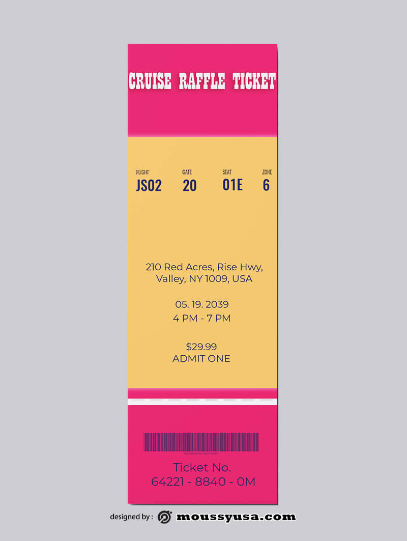 PSD Template For Cruise Raffle Ticket