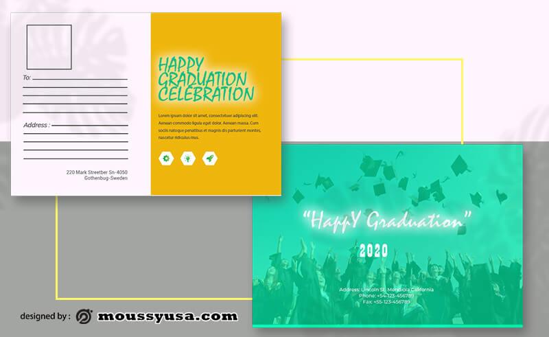 PSD Template For Graduation Postcard