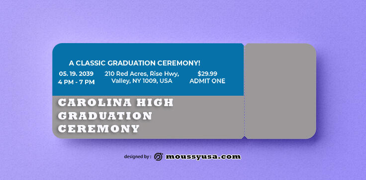 PSD Template For Graduation Ticket