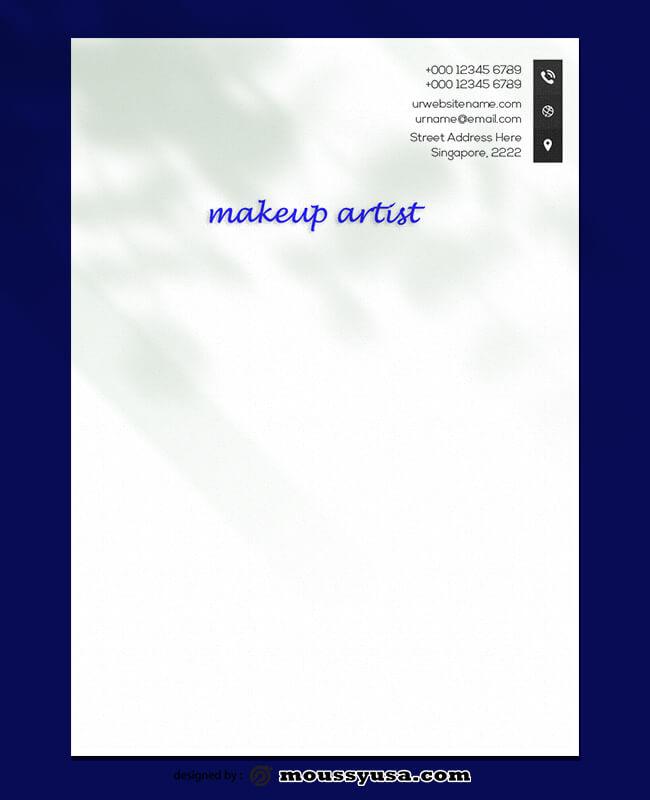 PSD Template For Makeup Artist Letterhead
