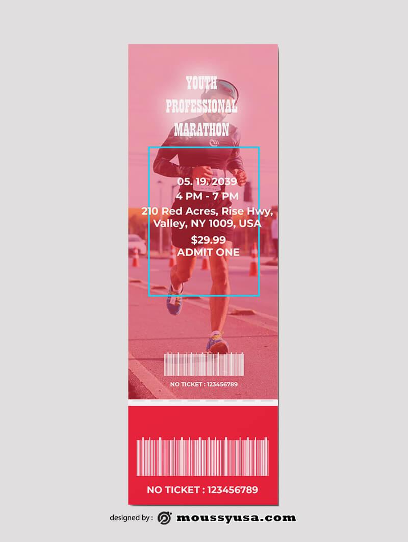 PSD Template For Marathon Ticket