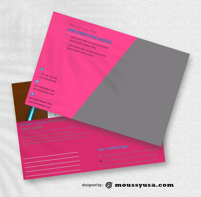PSD Template For Marketing Postcard
