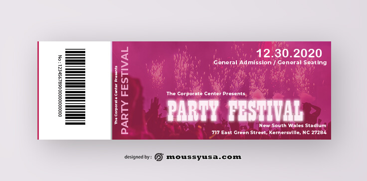 PSD Template For Party Ticket