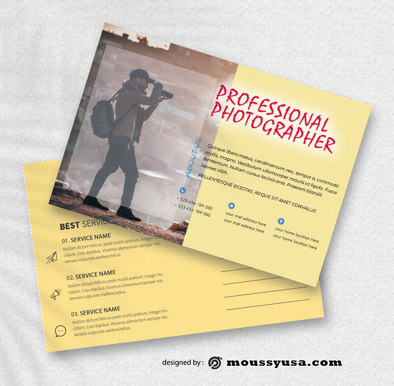 PSD Template For Photographer Postcard
