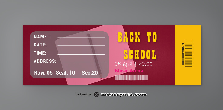 PSD Template For School Ticket