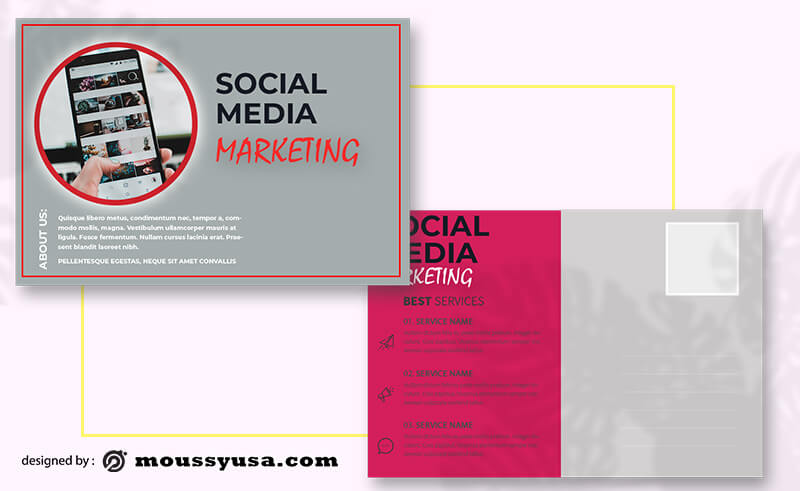 PSD Template For Social Media Marketing Postcard