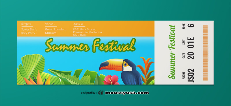 PSD Template For Summer Festival Ticket