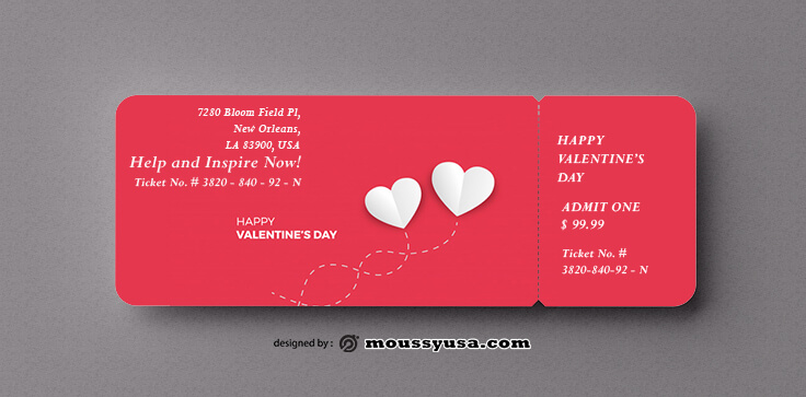PSD Valentine Day Ticket Template