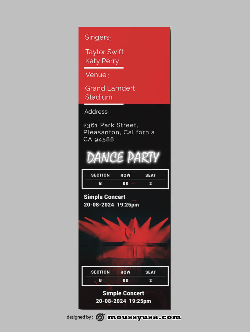 Party Ticket Template Example