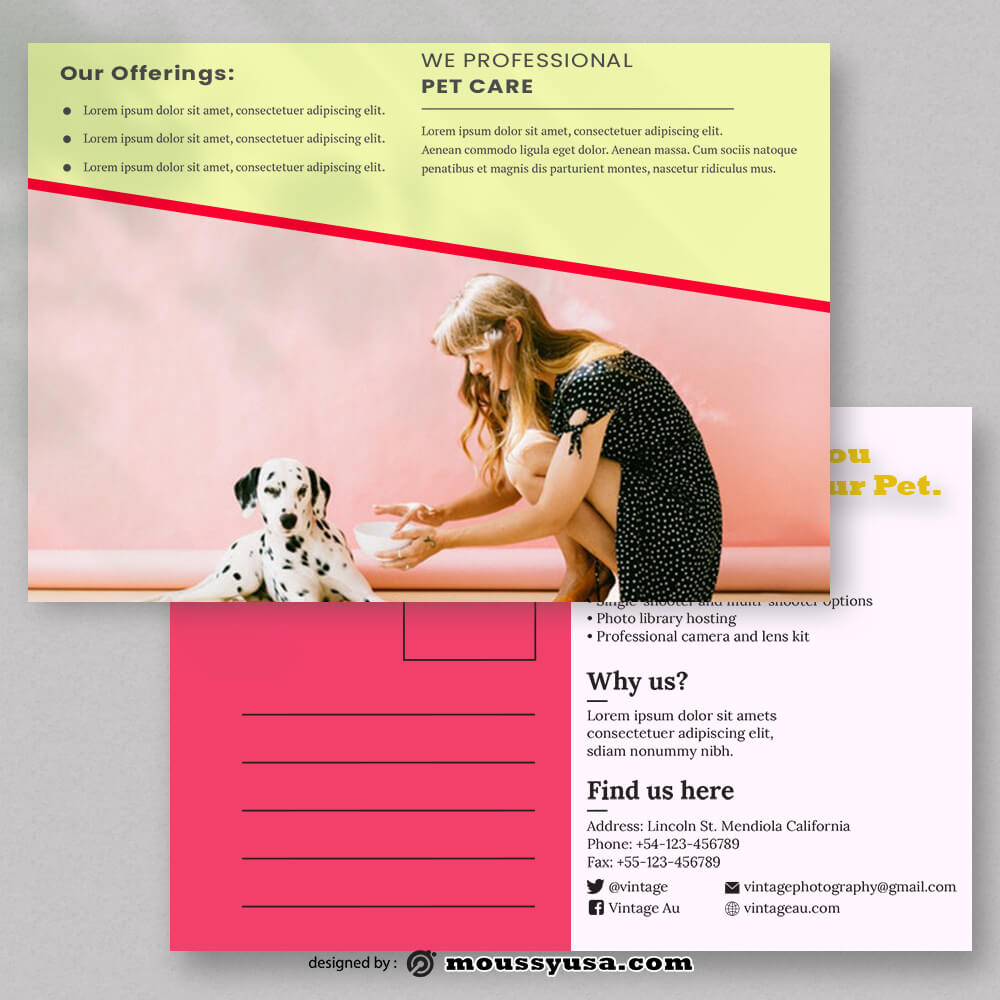 Pet Clinic Postcard Template Example