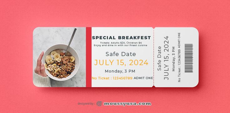 Sample Breakfast Ticket Template