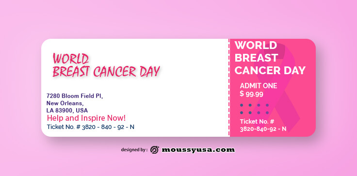Sample Breast Cancer Ticket Templates