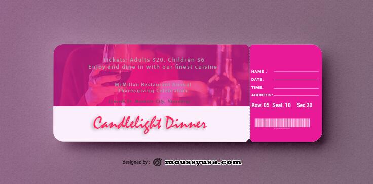 Sample Dinner Ticket Templates