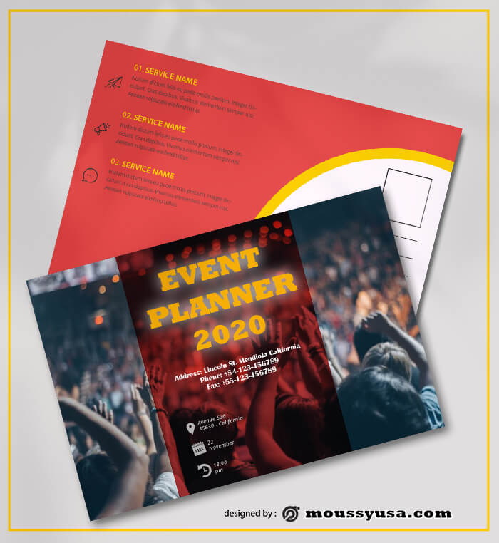 Sample Event Planner Postcard Templates