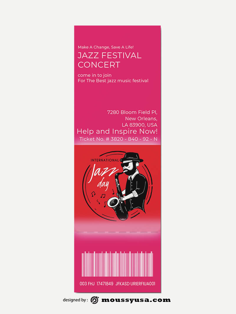 Sample Jazz Concert Ticket Templates