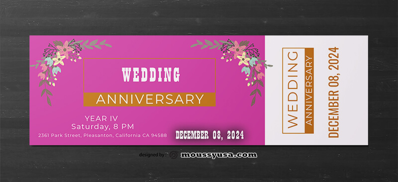 Sample Wedding Ticket Template