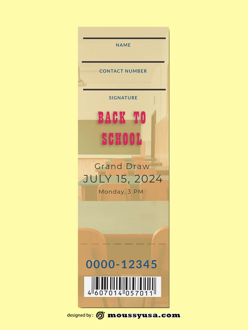 School Ticket Template Design