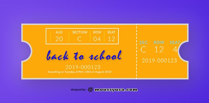 School Ticket Template Example