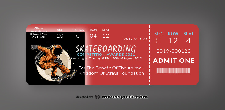 Skateboarding Ticket Design Ideas