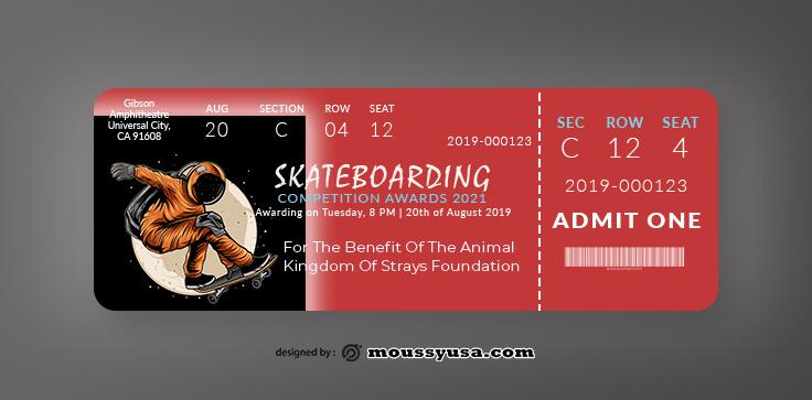 Skateboarding Ticket Design Ideas
