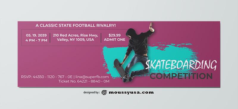 Skateboarding Ticket Design PSD