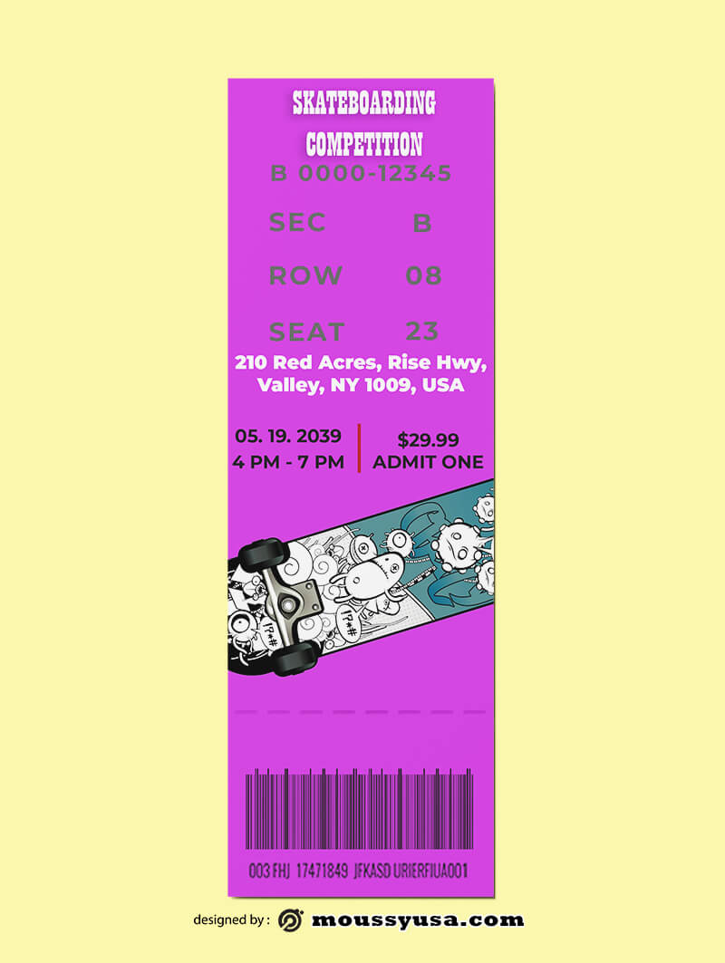 Skateboarding Ticket Design Template