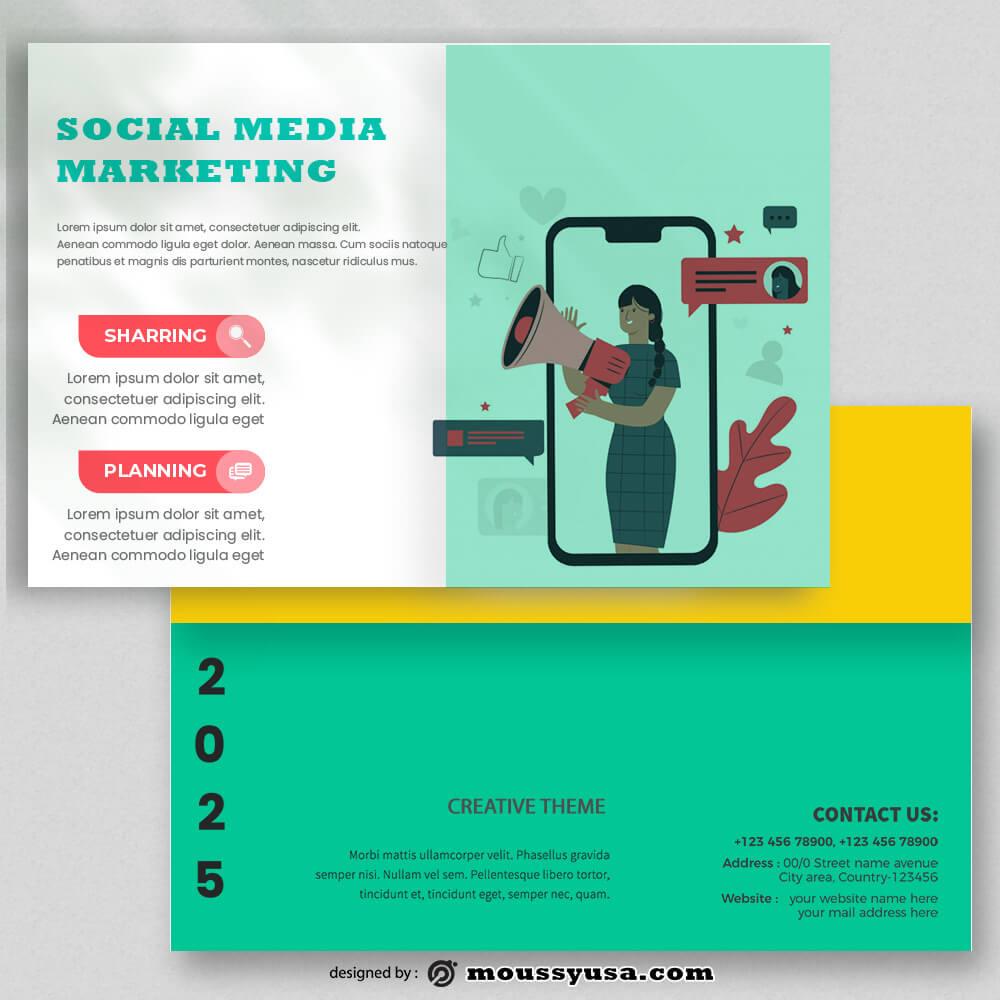 Social Media Marketing Postcard Template Example