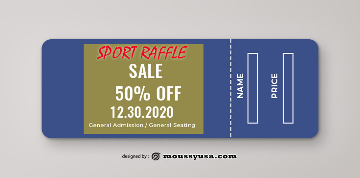 Sport Raffle Ticket Design PSD