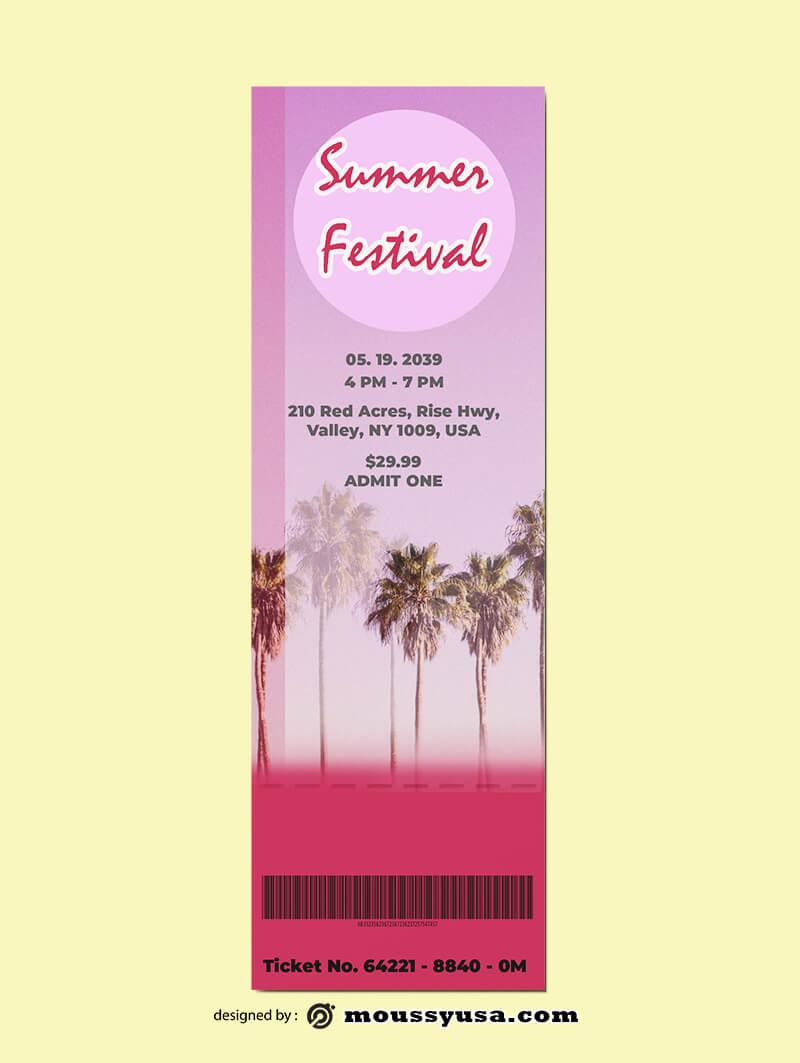 Summer Festival Ticket Template Design